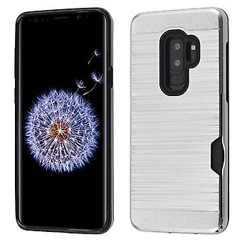 Silver/Black Brushed Hybrid Protector Cover(with Card Wallet) for Galaxy S9 Plus
