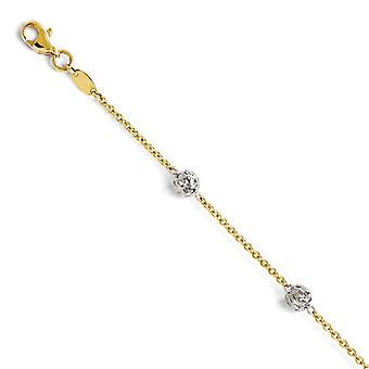 14k Two Tone Fancy Lobster Closure Gold Anklet 10 Inch Jewelry Gifts for Women - 2.7 Grams