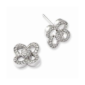 925 Sterling Silver Rhodium plated and CZ Cubic Zirconia Simulated Diamond Brilliant Embers Post Earrings Jewelry Gifts