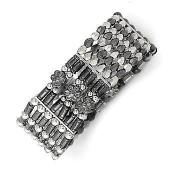 Silver tone and Black plated Acrylic Beads Stretch Bracelet Jewelry Gifts for Women