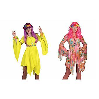 Hippie Kostüm Damen Hippiekleid 60er Jahre Flower Power Damenkostüm Hippieparty Fasching