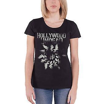 Hollywood Untote T Shirt Taube Granate Spirale offizielle Frauen Skinny Fit Schwarz