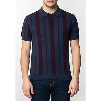 Merc MARMOT, Men's Knitted Polo Shirt with Vertical Stripes
