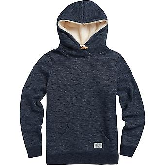 Animal Stitched Pullover Hoody in Sky Captain Blue Marl