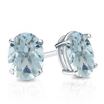 Dazzlingrock Collection 14K 6x4 mm each Oval Cut Aquamarine Ladies Solitaire Stud Earrings, White Gold