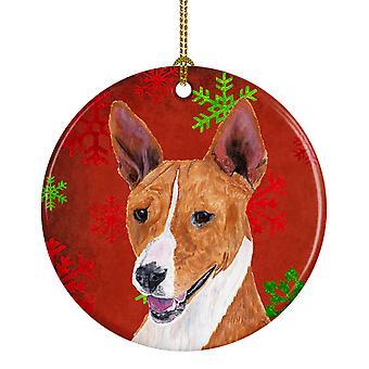 Basenji Red Snowflakes Holiday Christmas Ceramic Ornament SC9427