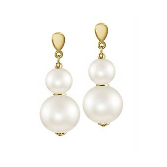 Eternal Collection Purity White Shell Pearl Gold Tone Drop Clip On Earrings