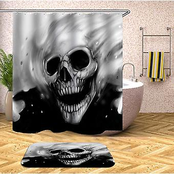 Black N White Skull Ghost Shower Curtain