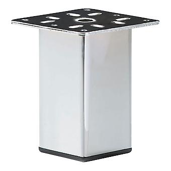 Chrome Squares Furniture Leg 10 cm with mounting plate