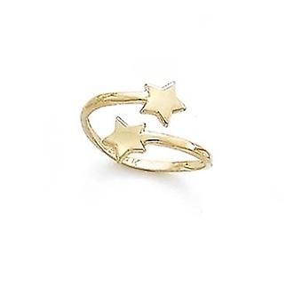14k Yellow Gold Double Star Adjustable Toe Ring Jewelry Gifts for Women - .9 Grams
