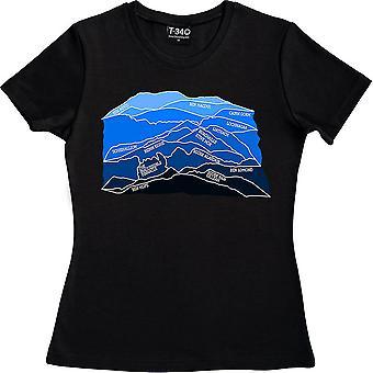 Munros (Azul) Negro Mujeres's Camiseta