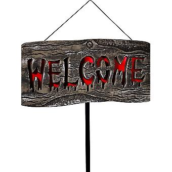 Light Up Welcome Outdoor Sign, Grey & Red, Batteries Includ, with Stake, 25x50cm / 10x20in