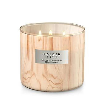 Bath & Body Works Golden Citrus 3 Wick Candle 14.5 oz / 411 g