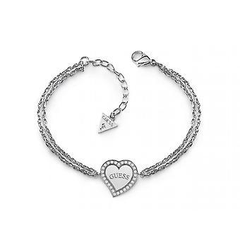 Bracelet Guess HEART WARMING UBB78096 - Bracelet acier deux cha�nes c?ur cristaux Swarovski Femme