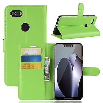 For Google Pixel 3 XL Leather Wallet Case Green Lychee Leather Cover,Card Slot