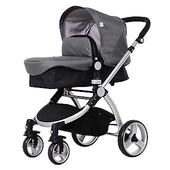 HOMCOM Baby Kid 3-in-1 Travel Versatile Stroller Infant Car Seat Transfer- Grey