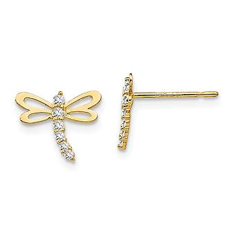 14k Yellow Gold Madi K CZ Cubic Zirconia Simulated Diamond for boys or girls Dragonfly Post Earrings