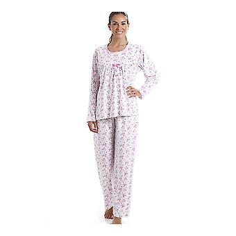 Set pigiama stampa floreale rosa Camille classico in cotone Jersey