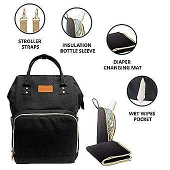 KIDZY Multi-Functional Waterproof Diaper Bag Backpack, Large, Black, Size Large