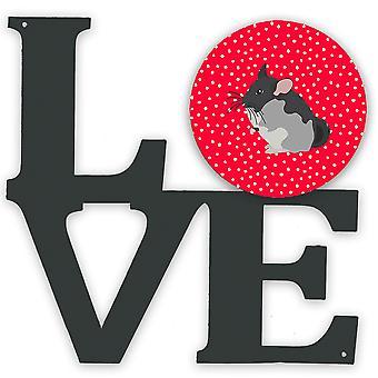 svart fløyel chinchilla kjærlighet metall vegg kunstverk kjærlighet