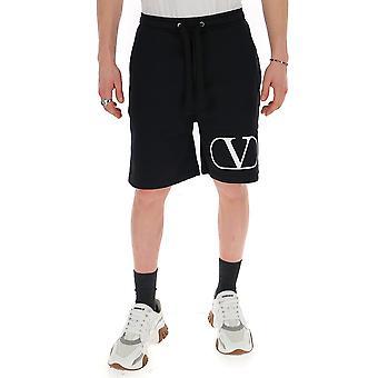 Valentino Tv3md02d63w0ni Männer's Weiß/schwarz Baumwollshorts