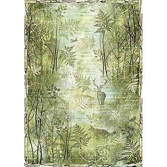 Stamperia Rice Paper Sheet A3-Green Forest