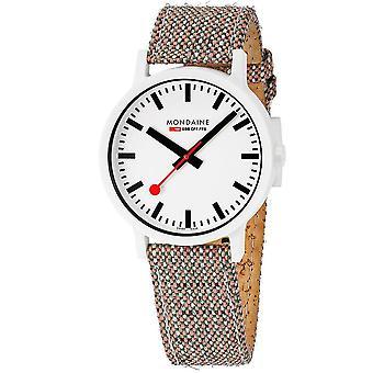 Mondaine Essence White Dial Brown Cork Strap Quartz Unisex Watch MS1.41110.LG
