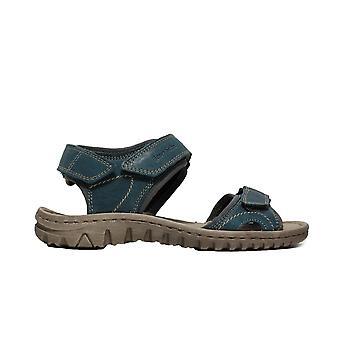 Josef Seibel Lucia 15 Azur blau Leder Damen Rip Tape Walking Sandalen