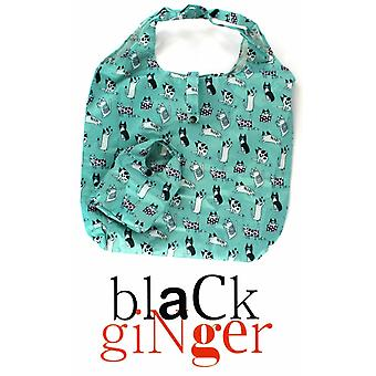 Black Ginger Spearmint Multi Purpose 'Bag in a Bag' with Art Deco Cats