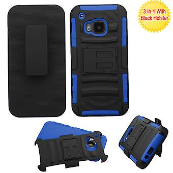 ASMYNA Advanced Armor Stand Case w/ Holster for HTC One M9 - Black/Dark Blue