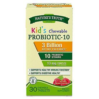 Nature's truth kid's probiotic-10, 13 mg, kauwtabletten, natuurlijke bes, 30 ea