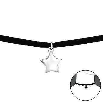Csillag - 925 Sterling Ezüst + Bársony Chokers - W34590x