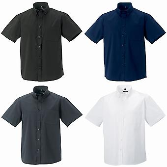 Russell Collection Mens Short Sleeve Classic Twill Shirt