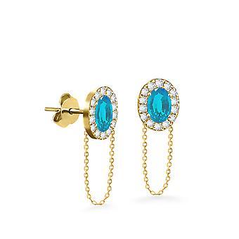 Earrings Princess Chain 18K Gold and Diamonds - Yellow Gold, Aqua Marine