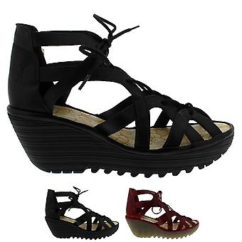 Womens Fly London Yeli Colmar Leather Cut Out Wedges Summer Sandals Shoes