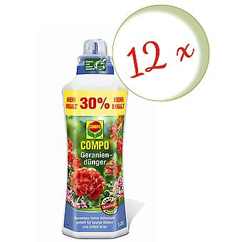 Sparset: 12 x KOMPO geranium lannoite, 1,3 litraa