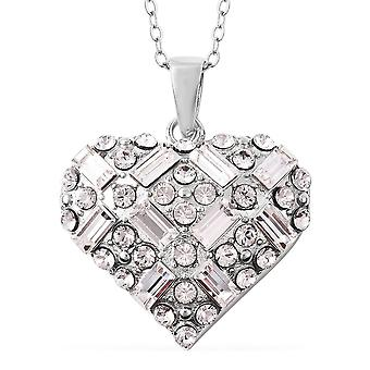 Heart Made with Swarovski Crystal Chain Pendant Necklace Sterling Silver TJC