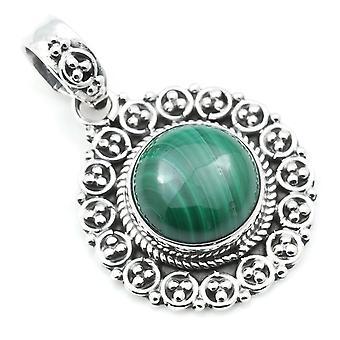 Amuleto de caneta corrente prata 925 Pedra Verde De Prata Esterlina Malachite (Não: MAH 104-10)