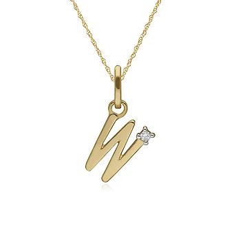 Initial W Diamond Letter Necklace in 9ct Yellow Gold 191P0747019