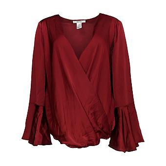 Masseys Women's Top Silky Wrap Long Sleeve Blouse Dark Red