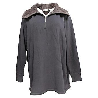 Denim & Co. Women's Plus Active Lush Lined Half Zip Top Gray A299217