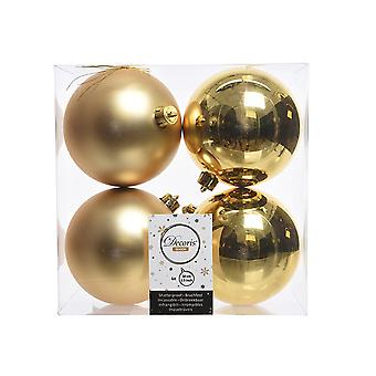 4 Gold 10cm Shatterproof Christmas Tree Bauble Decorations