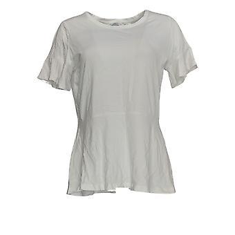 إسحاق مزراحي لايف! Women's Top Peplum ShortRuffle Sleeve White A303170