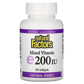 Natürliche Faktoren, Gemischtes Vitamin E, 200 I.E., 90 Softgels