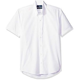 Abotoado Men's Slim Fit Estote-colar de punho curto não-ferro Shir...