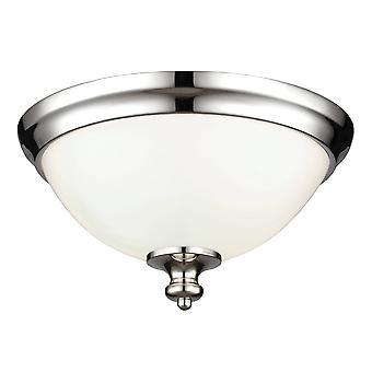 2 Light Flush Mount Plafond Licht gepolijst nikkel, E27