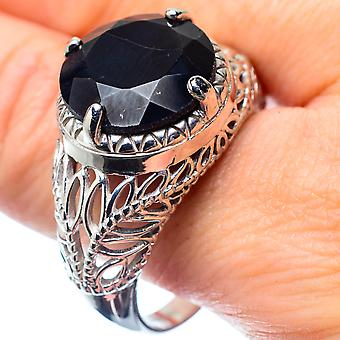 Large Black Onyx Ring Size 12 (925 Sterling Silver)  - Handmade Boho Vintage Jewelry RING27039