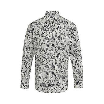 Jenson Samuel Zwart en Wit Bird Print Regular Fit Katoen Shirt