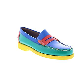 Sebago Dan Polaris CMYK Mens Blue Green Loafers & Slip Ons Penny Shoes