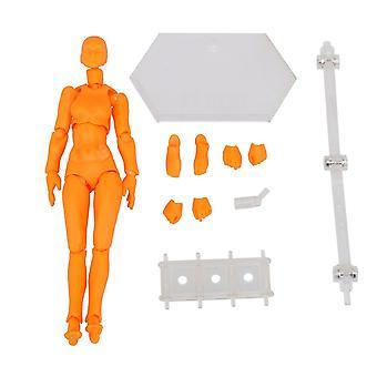 Plastic Action Figure Modèle Mannequin Humain Femme Peinture Accessoires Orange